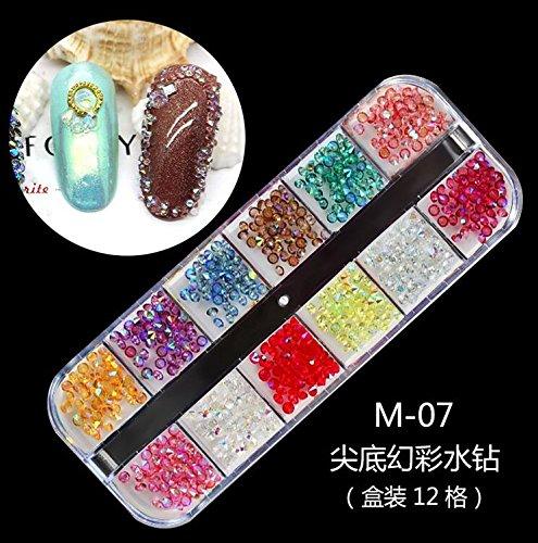 RICISUNG 12 Farben Nagel Art Strassstein Glitter Strass UV Gel Acryl
