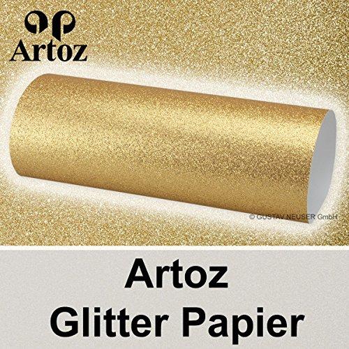 5x Artoz Glitter Papier DIN A4 // gold // glitzerndes Papier - Bastelpapier - Scrapbooking - Gold Glitter Scrapbooking