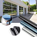 KINLO 300 x 75cm Spiegelfolie Sonnenschutzfolie Ohne Kleber für Fenster aus PVC 99% UV-Schutz Privatsphäre Glas Fensteraufkleber Fensterfolie 3-5Jahre Lebensdauer(Schwarz grau)