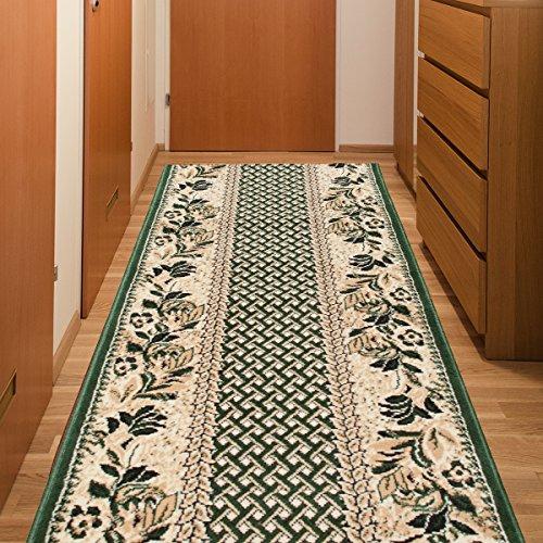 Tapiso Atlas Läufer Flur Kurzflor Teppich Küche Wohnzimmer Karo Streifen Floral Retro Blumen Muster Grün Creme Meliert ÖKOTEX 80 x 430 cm -