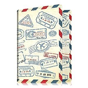 Fintie Porta Passaporto - PU cuoio Porta carta di credito ID Documenti Custodia, Stamp Design