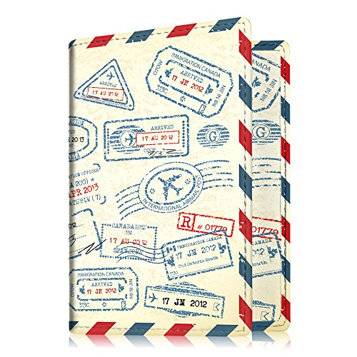 Fintie Porte-passeport Housse - Voyage Protecteur Porte-feuille Pochette étui de protection pour passeport, Stamp Design