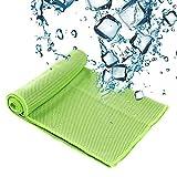 SZRWD Cooling Towel, 31 * 100 cm Cool Ice Handtuch/Weicher Cool Bambus Faser/Eiskaltes Handtuch/Kühlendes Halstuch für Reise, Camping, Golf, Wandernu, Sport im Freien-Grün
