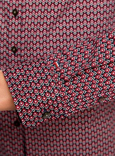 oodji Ultra Femme Chemise Imprimée en Coton Rouge (4900N)