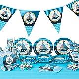 ED-Lumos Set di posate e giocattoli per il compleanno dei bambini o festa per bambini 90 pezzi Tema di navigazione marittima di colore blu