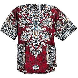 Lofbaz Unisex Dashiki Tradicional de África Camisa Étnico Size XS Rojo