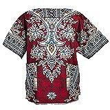 Lofbaz Unisex Dashiki Bohemian Africana Camicia Hippy Ethnic Rosso Taglia M