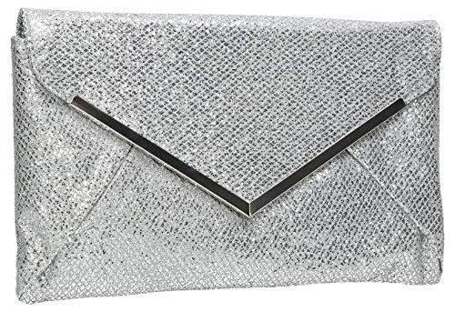 Swankyswans Womens Iris glitter cerimonia nuziale frizione Silver (Silver)