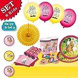 BIBI und TINA Geburtstag-Deko-Set, 51-teilig zum Kindergeburtstag Mädchen und Pferde-Motto-Party, 8 Kids
