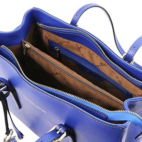 Tuscany Leather TL Bag - Sac à épaule en cuir Saffiano - TL141518 (Bleu) Bleu