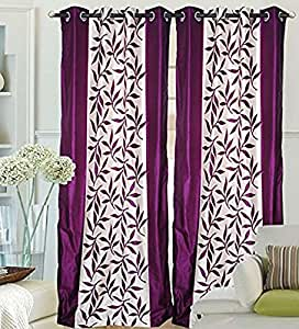 Kuber Home Furnishing 2 Pcs Eyelet Polyster Curtains -7ft,Purple