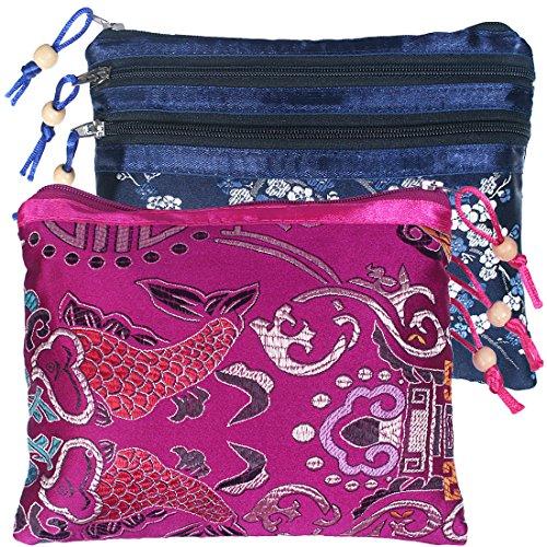 kilofly Chinesische Seide Brokat 3Reißverschluss Taschen Schmuck Beutel Tasche, Set von 2 set2 C -