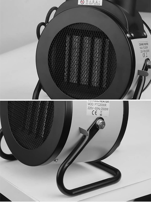 Mfun-Fan Calentadores industriales calefactores asistidos Ventilador eléctrico PTC/calefacción de cerámica Calentador portátil Calentador de Gran Alcance Interior Calentador portátil,Silver
