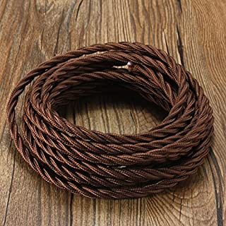 Vintage Braided Cable 3 core, Elfeland 5m Twisted Textile Cable Electric Rope Rayon Fabric Cloth Covered Wire, DIY Electrical Cord, VDE Certification, Brown