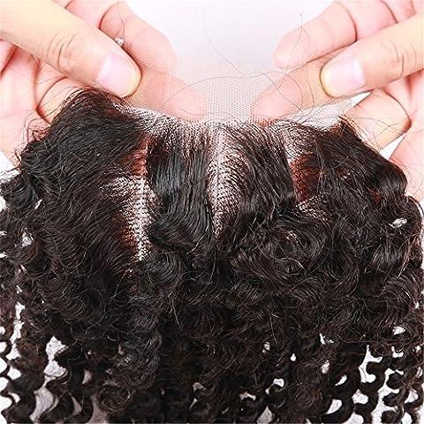 E_forest umani hairUK Brazilian Virgin hair Kinky Curly con lacci di chiusura (4 x 4) da 3 pezzi con imbianchimento di nodi per capelli (25,40 (10