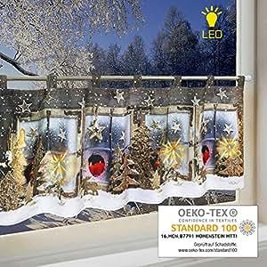 led scheibengardine winterlandschaft f r k che und kinderzimmer beleuchtete. Black Bedroom Furniture Sets. Home Design Ideas