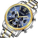 Herren-Quarz-Armbanduhr mit Chronograph, S2SQURE, zwei metallische Farbtöne: Golden/Silber, Datum- und 24-Stunden-Display, blaues Zifferblatt, Luxus-Stil