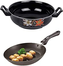 Bewitching Anti Scratch/Non Stick/Hard Anodized Combo-2 in 1(1 Fry Pan, 1 Kadhai) Induction Bottom Cookware Set