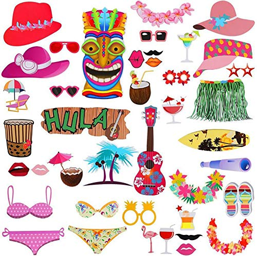 41 Stück Hawaii Themed Foto Requisiten, Tukistore Hawaiian Photo Booth Selfie Rahmen Requisiten Unisex DIY Kit Photo Booth Prop Party-Requisiten für Sommer Pool Party Dekoration