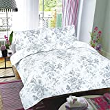 ARLINENS Luxurious 100% Cotton T-200 Reversible Printed Duvet Quilt Cover with Pillowcases Bedding Set (DOUBLE, FLORAL)