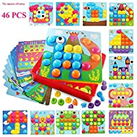 Button Art, SHAREMI Puzzles for 3 Year Old Creative Toy Gifts Mushroom Nails Pegboard Educational Jigsaw Puzzles for Boys and Girls Toddlers