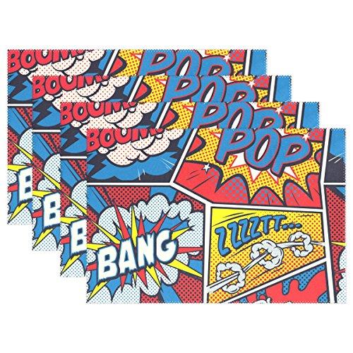 (mydaily Retro Pop Art Comic Tischsets für Esstisch Set von 4hitzebeständig waschbar Polyester Küche Tisch MATS, Polyester, multi, 12 x 18 inch)