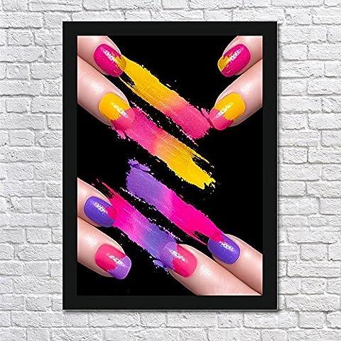 ZQQ Pintura decorativa de las uñas uñas mano modelo cuadro mural marco foto del colgante de pared pintura salón de belleza maquillaje ,