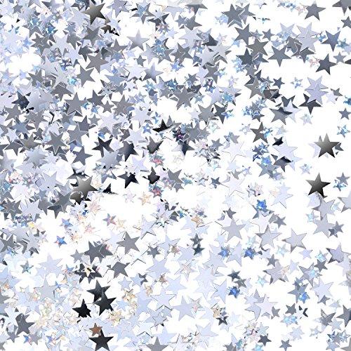 TecUnite Silberner Stern Konfetti Glitter Stern Tisch Konfetti für Hochzeit Geburtstag Party Dekoration, 60 Gramm/ 2,1 Unze
