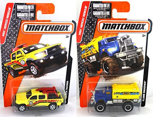 flaming-fire-truck-matchbox-rescue-flame-smasher-toyota-tacoma-beach-patrol-pickup-heroic-rescue-ser