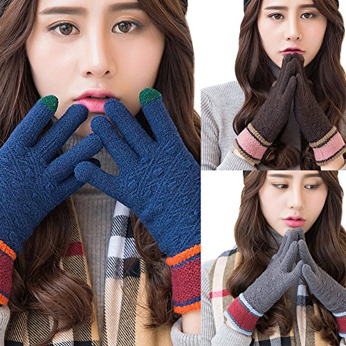 Bluelans donne Winter Full finger touch screen color Blocking all' aperto maglia guanti, Pink Blue
