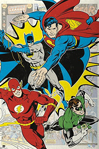 empireposter Dc Comics-4 Superhelden-Cartoon Comic-Poster Druck Grösse 61x91,5 cm, Papier, bunt 91.5 x 61 x 0.14 cm