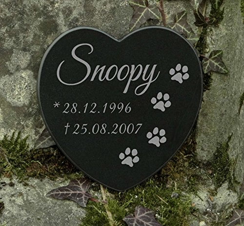 Gedenkstein Gravur Herz Grabschmuck Marmor Pfoten Hund (Hund Grabsteine)
