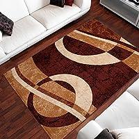 Tapiso Alfombra De Salón Moderna – Color Marrón Beige Diseño Círculos – Varias Dimensiones S-XXXL 80 x 150 cm