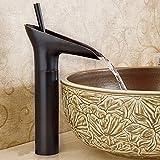 JRUIA Retro Hoch Schwarz Wasserfall Bad Wasserhahn Nostalgie Waschtischarmatur Einhebelmischer Aufsatzwaschbecken Armatur f.Badezimmer Hoher Auslauf aus Messing Öl Eingerieben Bronze Gebürsteter