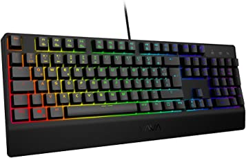 VAVA Mechanische Gaming Tastatur 16.8 Millionen RGB LED, Blaue Switches, 100% Anti-Ghosting, 104 Tasten Robuste UV-Beschichtung, Ergonomisches Design, Deutsches Layout
