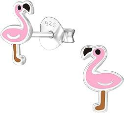 Laimons Mädchen Kinder-Ohrstecker Kinderschmuck Flamingo Rosa gelb Sterling Silber 925