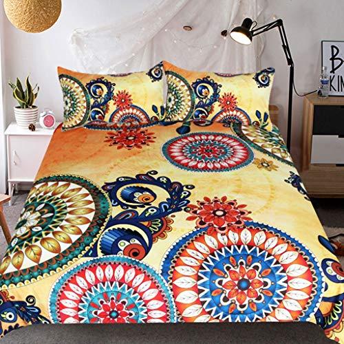 RUZHENG 3D Earth Yellow Kreis Muster Bettwäsche gedruckt Quilt Set 2 Kissenbezüge 1 Bettbezug 4 Größen Polyester -