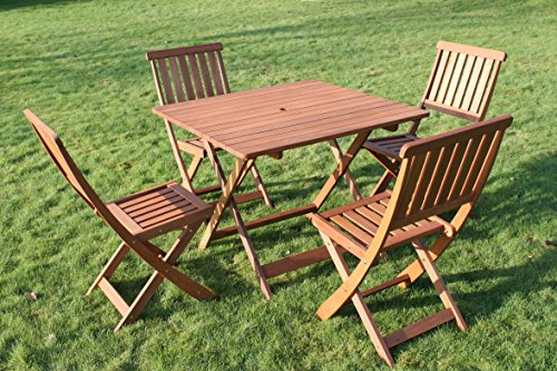 Victoria Quality Solid Hardwood Square Garden Dining Table and 4 Folding Chairs