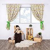 LULANDO Kinderzimmer Vorhänge Kindervorhänge Gardinen (155 cm x 120 cm) mit zwei Schleifenbändern zum Verzieren. In kinderfreundlichen Motiven erhältlich. Farbe:  Bees