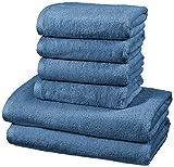 AmazonBasics - Handtuch-Set, schnelltrocknend, 2 Badetücher und 4 Handtücher - Seeblau