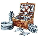 Andrew James Traditioneller Premium Picknickkorb aus Weide für 4 Personen – Mit Besteckt Set und Kühltasche Set