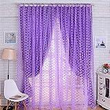 Fenster Sichtschutz Balkon Rose Blume Tüll Vorhang für Wohnzimmer Küche Vorhänge 100x 200cm violett