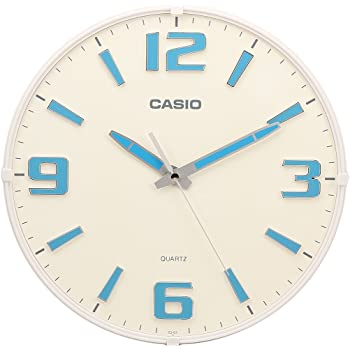 Casio Round Resin Analog Wall Clock (30.8 cmx30.8 cmx4.9 cm, White, WCL54)