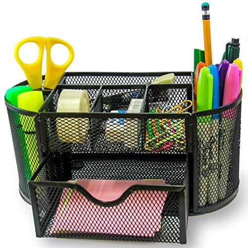 Hemara Aufbewahrungsbox für den Schreibtisch, mit Maschengitter, Organizer, Stiftehalter, aus Stahl, für den Bürobedarf, mit 9Ablageflächen schwarz -