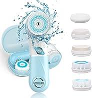 Gesichtsreinigungsbürste UMICKOO 5 in 1 wasserdichte elektrische Gesichtsbürste mit 5 Bürstenkopf, 2 Stufen Geschwindigkeite