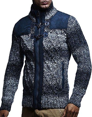 Sport Herren Pullover Strickjacken (LEIF NELSON Herren Strickjacke Pullover Hoodie Sweatshirt Longsleeve Winterjacke Pulli Sweater Langarm LN20739; Gr_¤e XXL, Dunkel Blau)