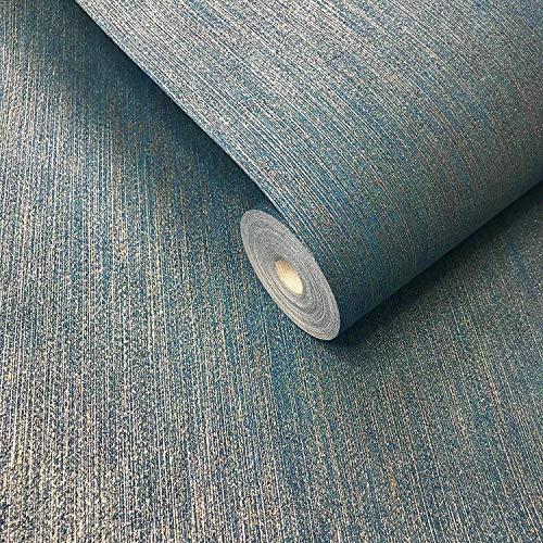 Moderne Vliestapete Blau Silber Gold Metallic Linien Stria Stripes Faux Strukturierter Stoff Stoff Einfache italienische Beläge Nur die Wand anbringen - Metallic Faux Wallpaper