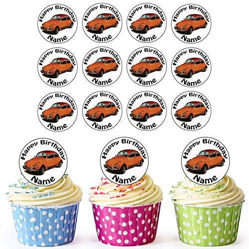 (Oldtimer VW Käfer Orange 24 Personalisierte Vorgeschnittene Kreise - Essbare Cupcake Aufleger / Geburtstagskuchen Dekorationen)