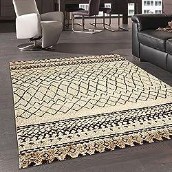 Alfombra de inspiración Berber Morocco Tribal alfombra moderna diseño moderno, beige, 80 x 150 cm