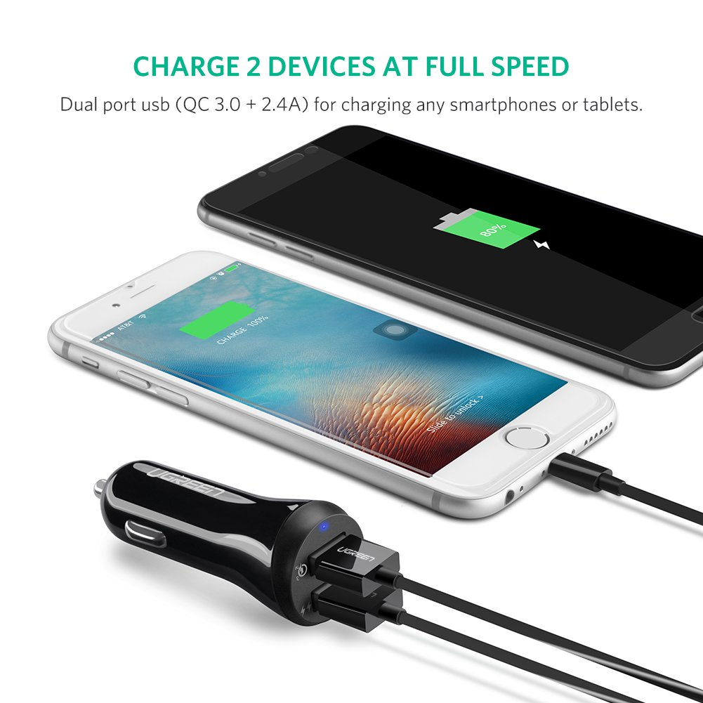 Ugreen Qc 30 Car Charger Quick Charge 30w Dual Usb Fast Eternity Ultra Port 2 Charging Adapter
